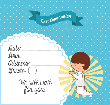 1st: first communion card design, vector illustration eps10 graphic