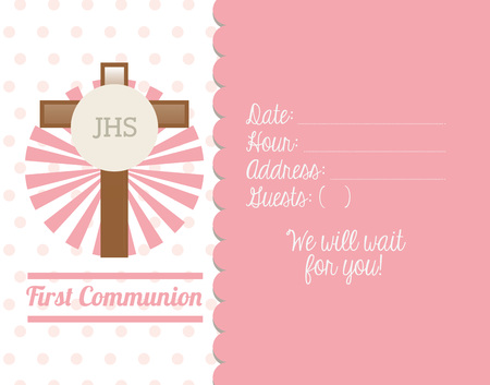 christian background: first communion card design, vector illustration eps10 graphic