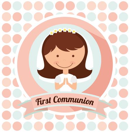 Primer diseño de la tarjeta de la comunión, ilustración vectorial gráfico eps10 Foto de archivo - 48965742