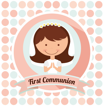 first communion card design, vector illustration eps10 graphic