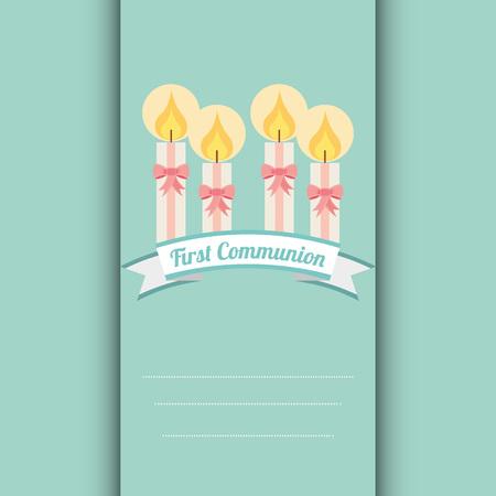 the sacrament: first communion card design, vector illustration eps10 graphic