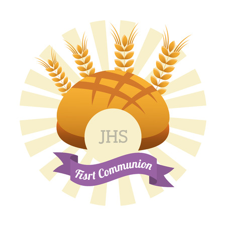 primera comunion: primer diseño de la tarjeta de la comunión, ilustración vectorial gráfico eps10