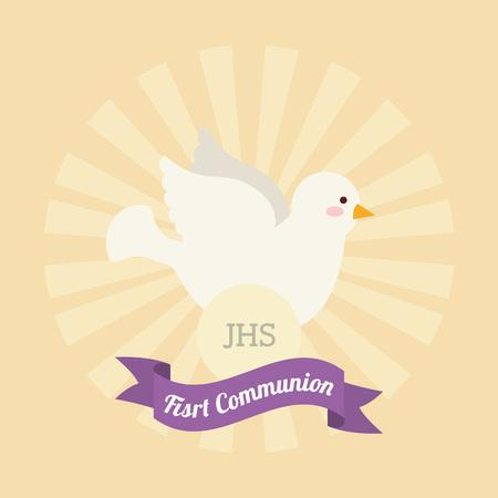 holy  symbol: primer diseño de la tarjeta de la comunión, ilustración vectorial gráfico eps10