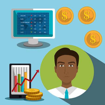 stock broker: Financial market and stock market graphic design, vector illustration