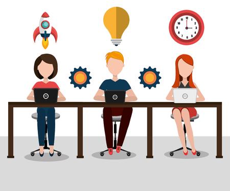 career development: Business strat-up company graphic design, vector illustration