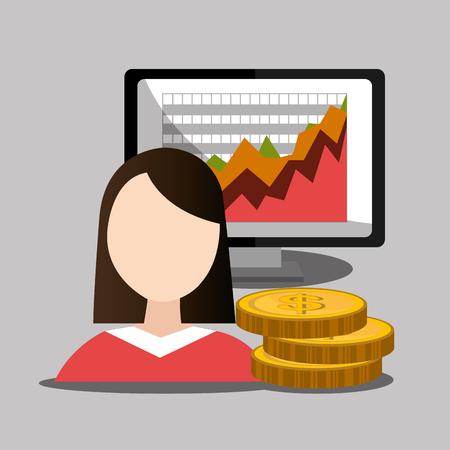 stock broker: Money and financial market graphic design, vector illustration
