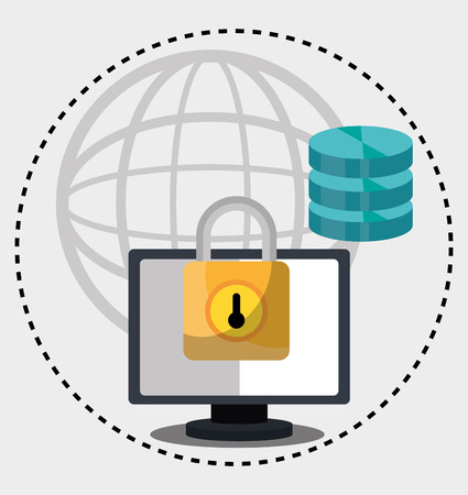 lock block: Computing security system graphic design, vector illustration Illustration
