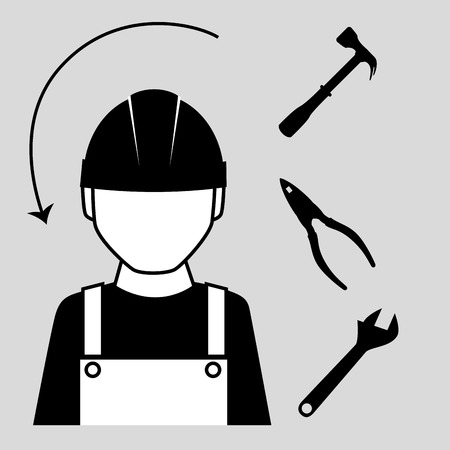 rebuilding: Construction and tools graphic design, vector illustration eps10 Illustration