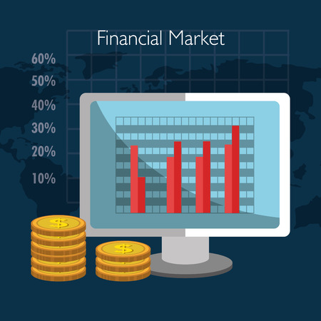 stock broker: Financial market and investments graphic design with icons, vector illustration Illustration