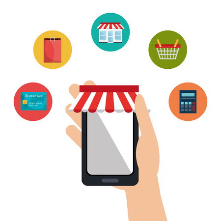 ecommerce icons: Shopping and ecommerce graphic design with icons, vector illustration Illustration