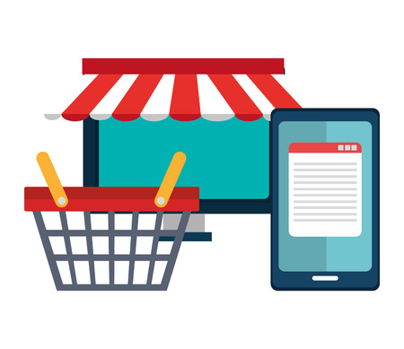 Shopping and ecommerce graphic design with icons, vector illustration Ilustração