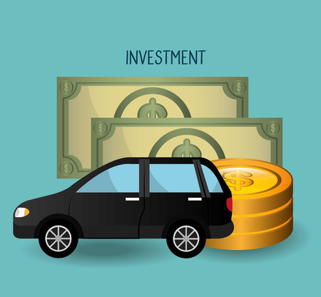 grow money: Car and vehicles business investment graphic design, vector illustration