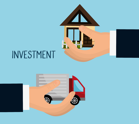 grow money: Real estate business investment graphic design, vector illustration