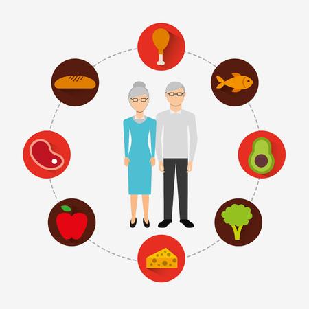 carnes y verduras: la nutrición y la salud de diseño Vectores