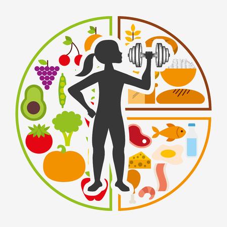 eating food: nutrition and health design Illustration