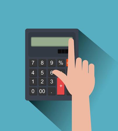 calculadora: La mano y el diseño gráfico de la calculadora sobre fondo azul, ilustración vectorial