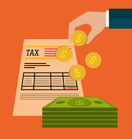 taxes: Government taxes payment graphic design Illustration