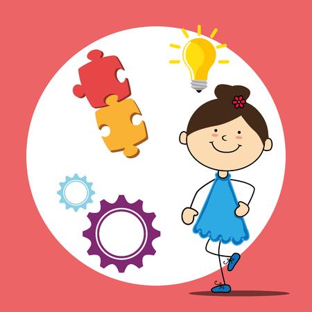 juniors: Kids playing cartoon, vector illustration graphic design. Illustration