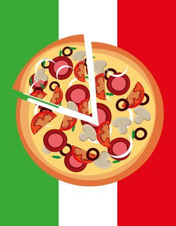 pizzeria label design: delicious pizza design, vector illustration  graphic Illustration