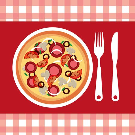 cooking time: delicious pizza design, vector illustration  graphic Illustration