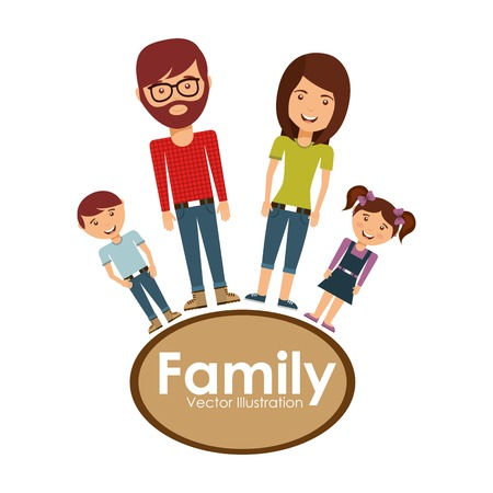 happy family smiling: happy family design, vector illustration  graphic Illustration