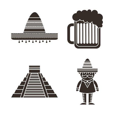 sombrero de charro: cultura diseño mexicano, ejemplo gráfico del vector eps10 Vectores