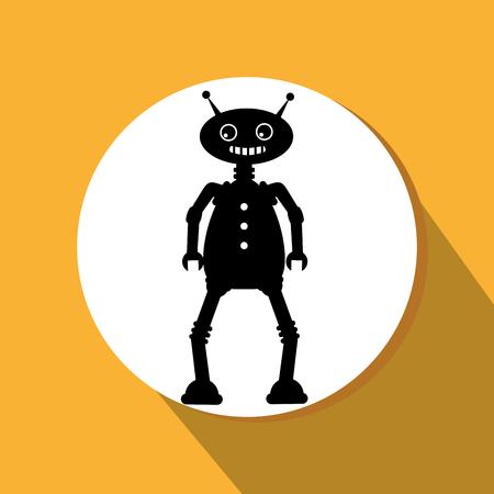 Funny robot cartoon graphic design, vector illustration eps10