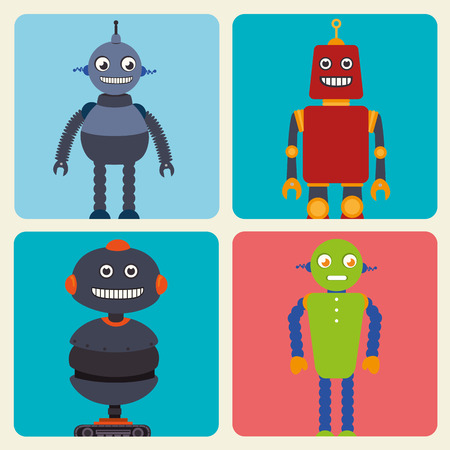 funny robot: Funny robot cartoon graphic design, vector illustration eps10