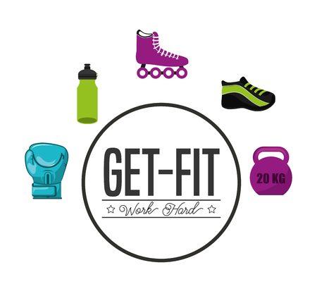 salud y deporte: diseño de estilo de vida saludable, ilustración vectorial gráfico eps10