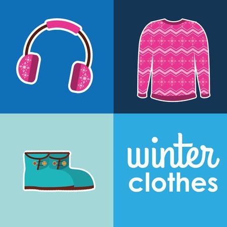 colores calidos: invierno la ropa de diseño, ilustración vectorial gráfico eps10