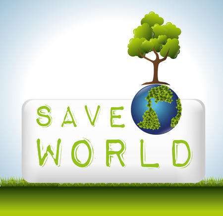 safe world: Green energy and ecology theme design, vector illustration graphic