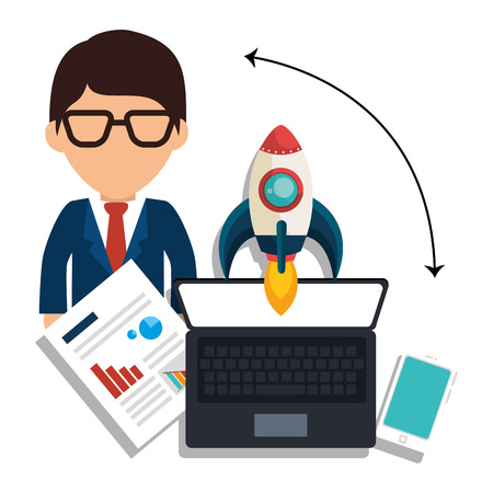 at the start: Business entrepreneur and start up company graphic design, vector illustration Illustration