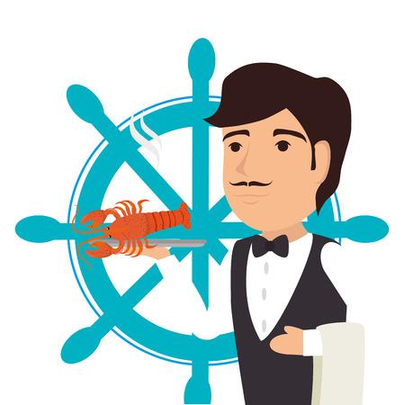 plato de pescado: Mar gastronomía de diseño gráfico, ilustración vectorial eps10 Vectores