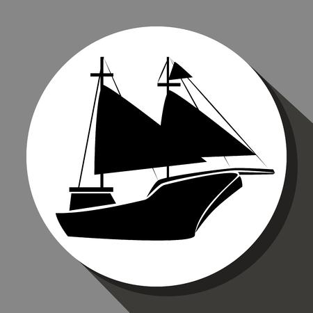 sail boat: Antique sail boat graphic design, vector illustration eps10