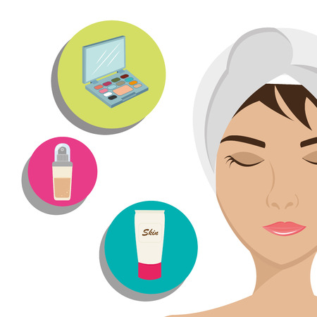 bath treatment: Make-up and womens cosmetics graphic design, vector illustration eps10 Illustration