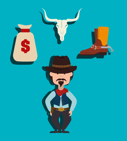 western town: Wild west culture graphic design, vector illustration eps10