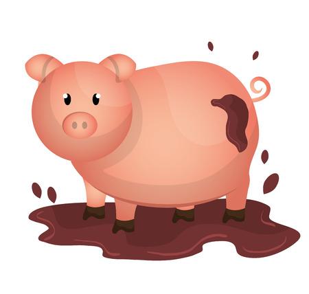 cerdo caricatura: Granja diseño gráfico fresco, ilustración vectorial eps10 Vectores