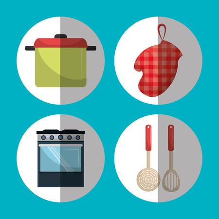 home cooking: Kitchen utensil and dishware graphic design, vector illustration