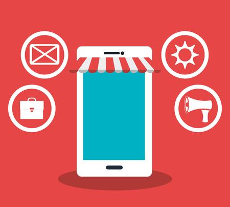 online business: Digital marketing and ecommerce graphic design, vector illustration