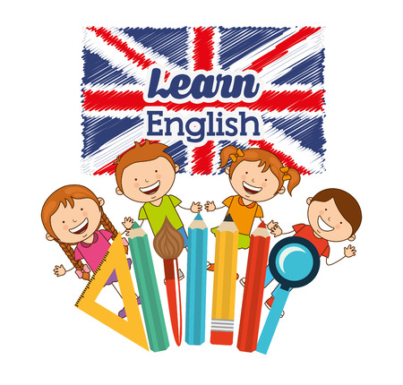 of course: learn english design, vector illustration eps10 graphic