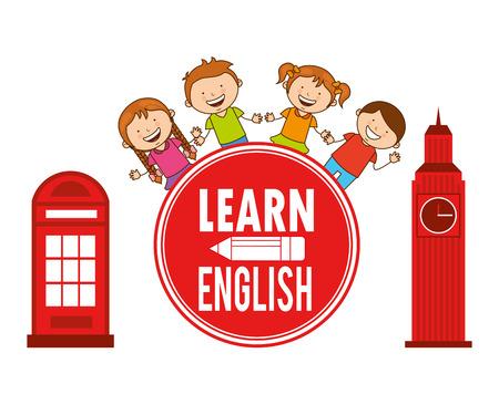 Aprender Inglés diseño, ilustración vectorial gráfico eps10 Foto de archivo - 49794262