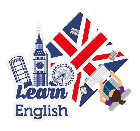 learn english design, vector illustration  Ilustração