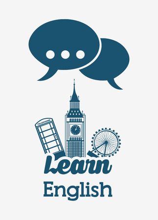 learn english design, vector illustration