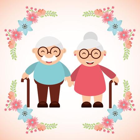 Großeltern Konzeption, Vektor-Illustration Standard-Bild - 49824094