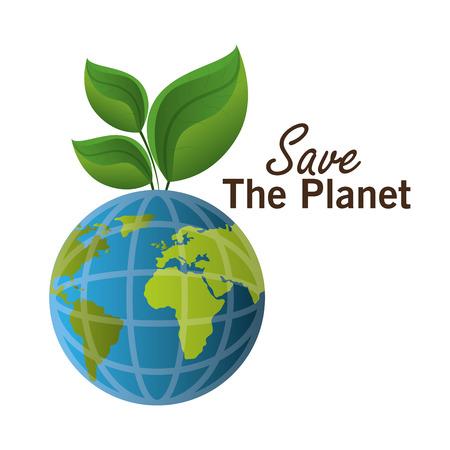 planeta verde: Salvar el planeta de diseño gráfico, ilustración vectorial