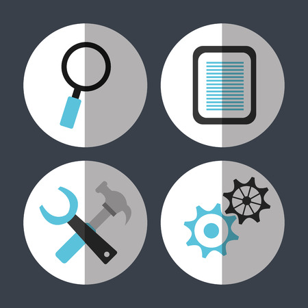 sep: Web hosting and design icons graphic, vector illustration