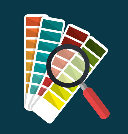 pantone: Pantone and magnifying glass graphic icons, vector illustration