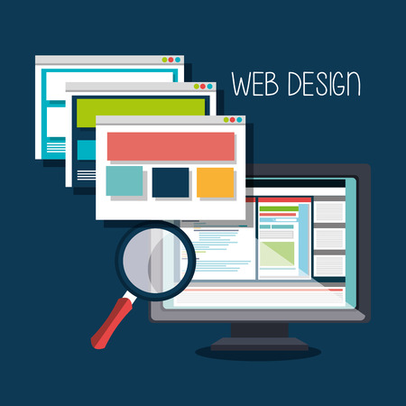 hosting: Website design and hosting, vector illustration graphic