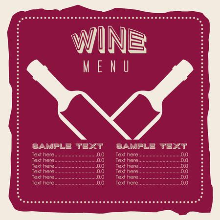 bootle: menu wine design, vector illustration