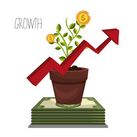 grow money: Money and business investment graphic design, vector illustration Illustration
